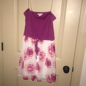 Strapless white and purple floral dress